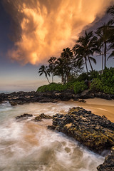 Tropical Nuclear Sunrise (PIERRE LECLERC PHOTO) Tags: maui hawaii tropical sunrise hawaiian nuclear moody atmosphere landscape nature lavarocks sea seascape waves longexposure palmtrees beach secretcove clouds sky appocalyptic pacificocean islands vacation travel pierreleclercphotography