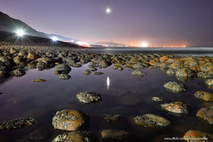 D5B_7700  calm (.chan) Tags: calm   taiwan  newtaipeicity coastal       rocks moon    nightshot nightview nightcolors reflections   mountains