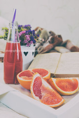 Breakfast in bed with fresh juice and grapefruit (victoria.kondysenko) Tags: bed breakfast hotel detail closeup meal tray diet coffee beverage drink cup cookie morning tea biscuit walnut lifestyle healthy home juice wooden bedroom food eating macaroon hot grapefruit toned books flower