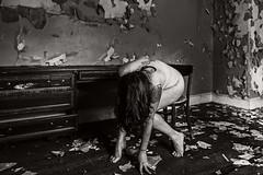 Waiting for the World to Begin (sadandbeautiful (Sarah)) Tags: me woman female self selfportrait abandoned bw peelingpaint