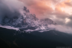 Italy. Dolomites. Val Gardena. Mountain Sassolungo at sunset. (naumenkophotographer.com.ua) Tags: gardena val italy dolomites sassolungo selva mountain valley alps landscape di sky travel nature resort south dolomite alpine blue mountains tyrol trentino ortisei peak rock high autumn europe snow clouds view panorama village range tourism trekking adige park meadow italian