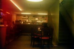 Modern Pub (materasu) Tags: olympustrip35 pub indoors modern composition lightleak art blurry grainy