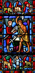 Beating Swords into Ploughshares (Lawrence OP) Tags: washingtondc national cathedral swords child isaiah vision stainedglass
