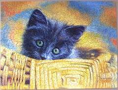 Basket Case (Lucie Bilodeau) (Leonisha) Tags: puzzle jigsawpuzzle cat chat katze ktzchen kitten korb basket