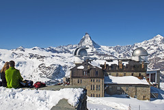 Siting on the roof looking at the Matterhorn, Spring time on the Famous Gornergrat, No. 719, (Izakigur) Tags: gornergrat matterhorn cervin cervino zermatt helvetia flickr switzerland schwyz swiss nikon nikkor dieschweiz feel suiza liberty lepetitprince europa europe svizzera suizo nikkor1755f28 d200 d