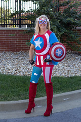 CaptainAmerica_9577 (WindJammer Photo) Tags: october 2016 canon 2470mml 60d outdoor portrait halloween costume captainamerica tights boots highheel red sexy beautiful beauty gorgeous blonde wife smile