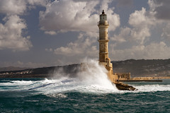 Old Lighthouse in Chania in stormy weather (john houv) Tags: chania crete mediterranean oldharbour oldharbor lighthouse reflection waves storm stormyweather