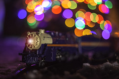 December Train (Michael Kucinski) Tags: yellow forsale train macro christmas winter lights bokeh
