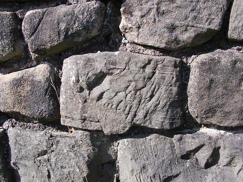 Hadrian's Wall. Detail of possible inscription, Walltown Crags.