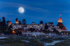 Moonrise over Hotel Coronado (binzhongli) Tags: moonrise hotel coronado hotelcoronado canon canon6d moon doubleexposure