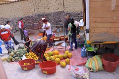 Fruit Sellers (oxfordblues84) Tags: peru ollantaytambo oat overseasadventuretravel cusco cuscoprovence scale pineapple pineapples peruvian peruvians people men women man woman fruits fruitstand