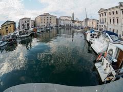 Fisheye view of Piran harbor (martinvaculk) Tags: piran slovenia slovinsko harbor europe reflex si fisheye city sea boat