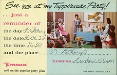 See You At My Tupperware Party! (SwellMap) Tags: postcard vintage retro pc chrome 50s 60s sixties fifties roadside midcentury populuxe atomicage nostalgia americana advertising coldwar suburbia consumer babyboomer kitsch spaceage design style googie architecture