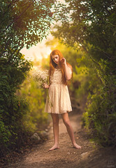 The Path ({jessica drossin}) Tags: jessicadrossin girl redhair redhead trees path leaves dress lace wwwjessicadrossincom