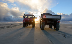 meeting (hein van houten) Tags: northseabeach beach northsea sunlight sunset vliehors vlieland unimog406 unimog421 northseaskies sky clouds