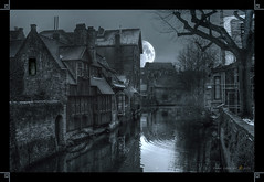 Old Village at Moonlight (cobravictor) Tags: england greatbritain night landscape moon water ghost horror story hdr architecture moonlight windows fairy fantasy magic city town tale