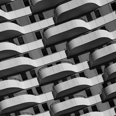 FLOW#2 (morbs06) Tags: cologne flow jswdarchitekten köln abstract architecture balcony building bw city curves diagonal facade housing light lines metal pattern people repetition shadow square stripes texture windows