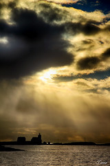 Homborsund Lighthouse (Spiderdama) Tags: sky skywatch water ocean sea lighthouse homborsund grimstad norge norway sun light clouds