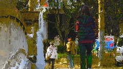 November  light (Bamboo Barnes - Artist.Com) Tags: japan osaka winter girl street tree railing white grey blue red yellow tan green photo painting light shadow digitalart bamboobarnes