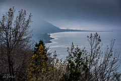 Moody Lake Michigan . . . (Dr. Farnsworth) Tags: fog hill scenic turnout highway leaves latefall view mystery lakemichigan mi arcadia m22 inspirationpoint fall november2016