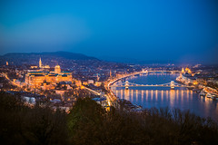 View of Budapest from Gellert hill at blue hour (Vagelis Pikoulas) Tags: blue hour view landscape city cityscape budapest buda pest canon 6d vc long exposure night nightscape sky river hungary capital november 2016 autumn tokina 2470