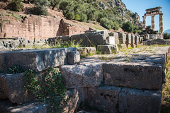 Delphi - Foundations of Later Temple of Athena 2 (Le Monde1) Tags: greece delphi greek sanctuary athena lemonde1 nikon d800e unesco worldheritagesite archaeological site roman ruins gods pronaea templeofathena foundations