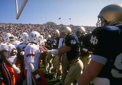 "#Miami Hurricanes and Notre Dame facing off during the ""Catholics vs. Convicts"" game, 10/15/1988 [1000x697] #history #retro #vintage #dh #HistoryPorn http://ift.tt/2htKidt (Histolines) Tags: histolines history timeline retro vinatage miami hurricanes notre dame facing off during catholicsvsconvicts game 10151988 1000x697 vintage dh historyporn httpifttt2htkidt"