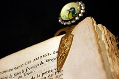 bookmark (overthemoon) Tags: macromondays book bookmark burnished paper ancient edges bird glittery engraved marquepages macro flèche arrow bookmarkfrompiècesàconviction explore 19