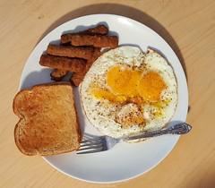 breakfast (Tim Evanson) Tags: clevelandheightsohio myhouse breakfast toast sausage eggs friedegg sunnysideupeggs