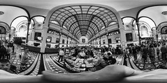 360 degree - Saigon Central Post Office (PaulHoo) Tags: bw ricoh theta s blackandwhite interior building contrast architecture 360 degree spherical 2016 vietnam asia ho chi minh city urban people panorama wideangle colonial french monochrome equirectangular