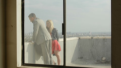 a couple (Croswald9) Tags: roof window private observation los couple gloomy dress angeles watching suit fancy discussion hazy
