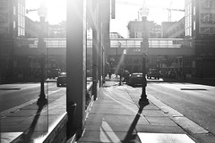 light (local paparazzi (isthmusportrait.com)) Tags: street new city windows light shadow people blackandwhite white black detail reflection building glass lines skyline composition contrast work canon buildings eos 50mm mirror pod aperture shiny downtown glare bright crane pavement iso400 f14 candid streetphotography f45 blinded sidewalk starbucks flare blinding overexposed usm fullframe remodel brightness ef brightest recovery skywalk 2014 sharpness refracted 12000 blindedbythelight canonraw cr2 isthmus cranecity 50mmf14usm photoshopelements7 canon5dmarkii localpaparazzi redskyrocketman lopaps isthmusportrait