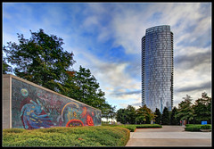 Genesis (ioensis) Tags: life tower glass miguel museum scott fire dallas october mural texas place mosaic district tx arts johnson police system gift highrise genesis architects residental pension dma 2014 fain jdl ioensis coverrubias