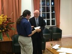 David Wallace receiving a 2013 Lakatos Award