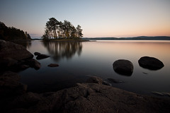 tranquil twilight (Andreas Lf) Tags: longexposure sunset colour nature water reflections landscape island twilight rocks silent sweden dusk tripod nopeople calm le bluehour scandinavia tranquil sigma1020mm ndfilter lakescape nordics jrnlunden hackelbo rimforsa lightcraftworkshopnd500 sonyalphaslta77