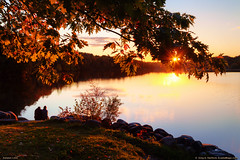 Couple on Maine Shore (Greg from Maine) Tags: autumn friends sunset nature reflections landscape maine newengland lovers fallfoliage redleaves twolovers garlandpond penobscotcounty mainehighlands garlandmaine