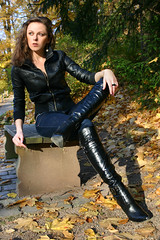 Lena 08 (The Booted Cat) Tags: sexy girl leather model highheels boots jeans heels tight russian