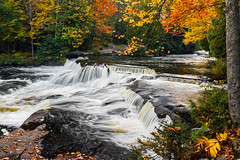 Upper Bond Falls in the Autumn (Kenneth Keifer) Tags: longexposure autumn trees motion blur color fall nature up leaves forest landscape flow waterfall maple woods rocks colorful stream michigan blurred foliage flowing splash upperpeninsula watersmeet splashing bondfalls paulding whtiewater