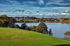 Linlithgow Loch From Linlithgow Palace (Colin Myers Photography) Tags: old blue autumn west monument colin fairytale photography scotland ancient warm skies colours scottish palace fairy blueskies loch tale autumnal atmospheric linlithgow lothian myers linlithgowpalace westlothian linlithgowloch scottishcastle colinmyersphotography