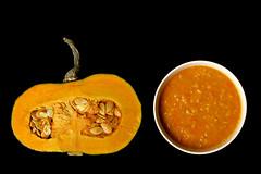 before & after (bloodybee) Tags: stilllife food orange black vegetables pumpkin soup cut bowl before seeds eat squash half after stalk