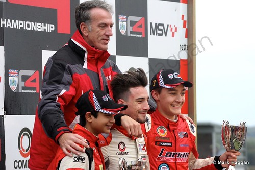 The Lanan Racing team celebrate George Russell winning the 2014 BRDC F4 Championship at Brands Hatch