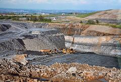 Windy Arbour opencast, Wigan 1997 (Pitheadgear) Tags: mine pit lancashire mining caterpillar coal wagons wigan stripmining opencast exc