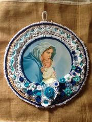 Colagem Nossa Senhora e o menino Jesus (Mar de Artes) Tags: crochet altar palha renda croch