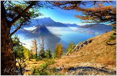Herbststimmung am Attersee (Karl Glinsner) Tags: austria österreich landschaft landscape outdorrs berge mountains see lake salzkammergut oberösterreich upperaustria attersee nebel fog herbst autumn