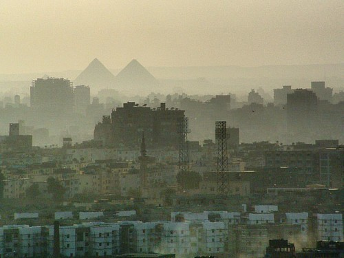 The ancient pyramids of Giza as seen though the buildings, minarets and pollution/desert dust in El Cairo. It's been some years now since we where in Egypt, but I just found this amazing picture. #UrbanLandscape