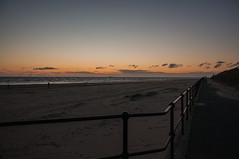 Railed in (Tony Shertila) Tags: 20150827222718 blundellsands blundellsandsward england gbr geo:lat=5348117627 geo:lon=304615259 geotagged unitedkingdom unitedkingdomweather day clear sky sunset europe britain merseyside liverpool crosby anotherplace anthonygormley beach coast statue railings windfarm irishsea sea water sand path evening