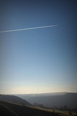 331.365.2016 (johnny the cow) Tags: hillside sky aeroplane plane vapour trails hills valley hazy winter sun llanafan ystwyth ceredigion wales cymru aberystwyth 365 366 2016 catalogue collection diary photo aphotoaday
