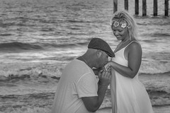 My first Engagement photo shoot (jkellogg01) Tags: engagement wedding photo flowing white dress his knees gown flowers headband kiss ring st augustine beach pier canon eos 7d mark ef70200mm f4l is boobs milf necklace gold bare arms nn non nude smile knelling knelt down sexy wet stud tshirt