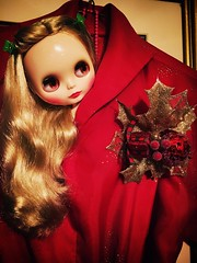 Winterish Allure in my daughter's new Christmas dress..closeup. Butterick 6055. Retro 50's. (a la Rosemary Clooney/White Christmas) WA says red is her best colour and wants me to make her a Christmas dress with the leftover fabric. Time will tell. :christ