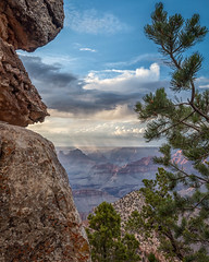 The Canyon Beyond (Kirk Lougheed) Tags: arizona grandcanyon grandcanyonnationalpark grandview grandviewpoint grandviewtrail southrim usa unitedstates canyon cloud landscape nationalpark outdoor rim sky summer tree
